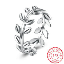 925 Sterling Silver Branch Shape Finger Simple Ring Jewelry