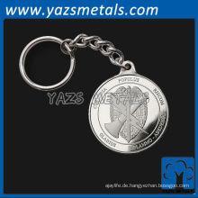 fertigen Sie Metall keychain besonders an, kundenspezifische Qualitätssilberfarbe keychains