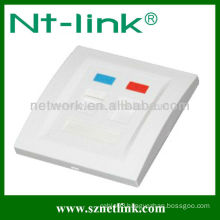 Two Port Capacity Faceplate for both RJ45 module (plug) and RJ11 module (plug).