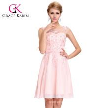 Grace Karin mangas de gola pescoço rosa pálido vestido de dama de honra curto GK000063-3