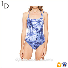 summer girl printed sexy swimsuit women blue swimwear