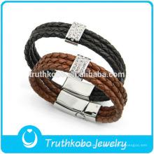 Мужские тройной обертывание плетеный кожаный браслет из нержавеющей стали магнитная застежка кожаные браслеты последние дизайн браслет для мужчин