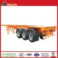 Tri Axes Skelett-Containerauflieger mit Plattenboden