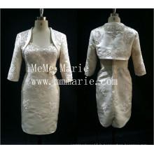 2016 nouvelle robe de mariée design robe de mariée courte célébrité mère de la mariée avec capelet veste