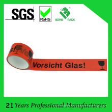 BOPP Klebeband Logo Cinta de embalaje con Vorsicht Glas 50m