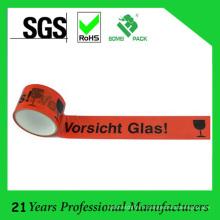 BOPP Klebeband Logo Ruban d'emballage avec Vorsicht Glas 50m