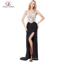 Grace Karin Floor-Length Sleeveless V-Neck High Split Beaded Prom Dress GK000137-1