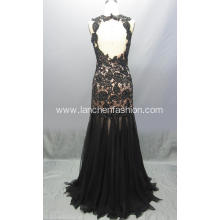 Illusion Neck Lace Black Dresses