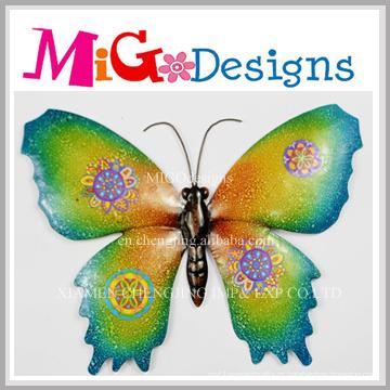 Decoração de parede de metal e vidro colorido borboleta brilhante