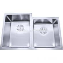 cUPC American 32 inch 60/40 Double Bowl R19 Undermount Stainless Steel Handmade Kitchen Sink with offset bowl