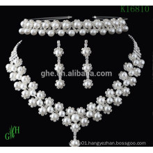 three-piece Yiwu Wedding pearl rhinestone necklace