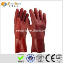 Sunnyhope PVC arenoso, luvas de segurança vermelhas, luvas de lavagem de carros impermeáveis