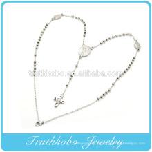 Carting Jesus Cruz colgante Virgen María cristiana 3 mm rosario collar collar collar de rosario de acero inoxidable venta directa de fábrica