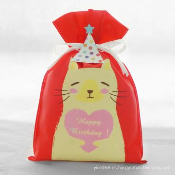 Bolsa de regalo con diseño de gato serie roja de cumpleaños
