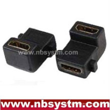 angle 90 degree HDMI A type female to female panel adapter