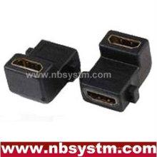Ângulo de 90 graus HDMI Um tipo de adaptador feminino para fêmea