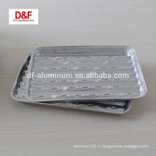 Plateau de barbecue en aluminium rectangulaire jetable pour le bbq