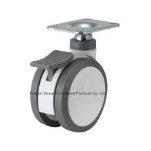 Placa superior médica de la rueda con el freno Caster de la PU