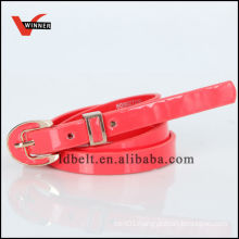 2014 Hot Sale Bright-peach Color Skinny PU Belts with Decorative Fashion Buckle