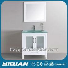 Banheiro Pavimento em Piso Cor Branca Vaidade Moderno Único Pia De Vidro Com Espelho Banheiro Vanity Cabinet