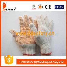 Tricot de coton naturel / polyester. Gants orange PVC points un côté (DKP101)