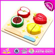 Lustiges hölzernes Ausschnitt-Gemüse-Spielwaren, heißer Verkauf DIY hölzernes Magnet-Kind-Spielzeug, täuschen geschnittenes Frucht-Gemüse-Bildungs-Kind-Spielzeug W10b091 vor