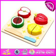 Funny Wooden Cutting Vegetable Toys, Hot Sale DIY Wooden Magnet Child Toy, Pretend Cut Fruit Vegetable Education Kid Toy W10b091