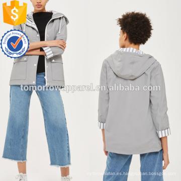 Grey Striped Forro Hoodes y Sudaderas OEM / ODM Manufacture Wholesale Fashion Women Apparel (TA7001H)