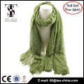 New arrive design green color soft feel magic scarf with flora flocking for women                                                                         Quality Choice