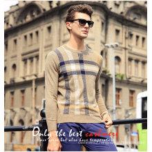 Men′s Cashmere Sweater Round Neck Patterned 16brdm011-1