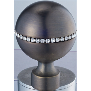 Metal Curtain Rod Finial Ball with Crystal