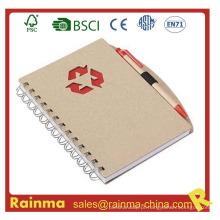 Caderno de papel com caneta para fornecimento de escritório