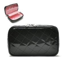 Lady Fashion Black PVC Clutch Jewelry Cosmetic Beauty Bag (YKY7515)