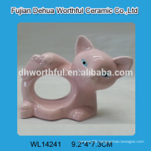 Handmade pink fox shaped ceramic napkin ring for wholesale