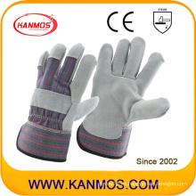 Cuero de vaca gris cuero dividido guantes de trabajo de seguridad industrial (110071)