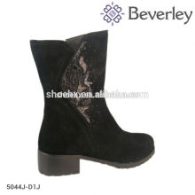 New design tpr out sole ladies cowhide leather boots