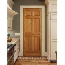 Puertas interiores de madera de nogal prefabricadas, diseño de 6 paneles