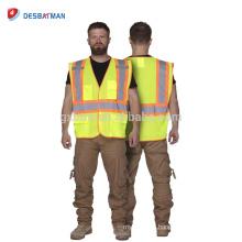 Die gelbe äußere Arbeit der Männer trägt für Eisenbahner-hohe Sichtschutz-Sicherheitsweste mit den zweifarbigen reflektierenden Streifen-Taschen ANSI / ISEA