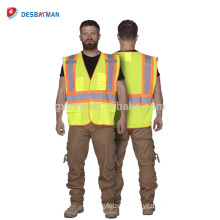 Men's Yellow Outer Work Wears For Railway Workers High Visibility Safety Vest With Two-Tone Reflective Stripe Pockets ANSI/ISEA