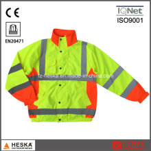 Mens Safety Waterproof Fluorescent Rain Jacket
