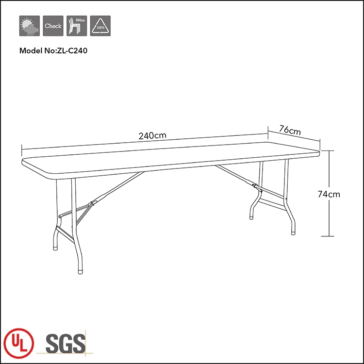 8ft rectangle folding meeting table for company