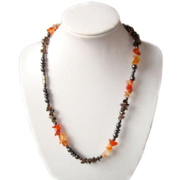 Carnelian Hematite Gemstone Chip Necklace