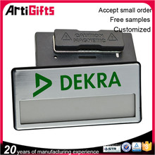 High end reusable name badge with magnetic clip
