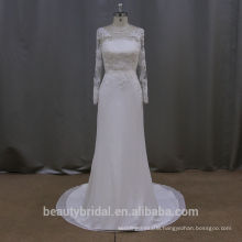 Excellent workmanship wedding dress with chiffon shawl 2014