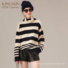 Pull en Cachemire couleur Stripe Gauge, Pull 100% Cachemire, Style Boy Friend Turtle Neck