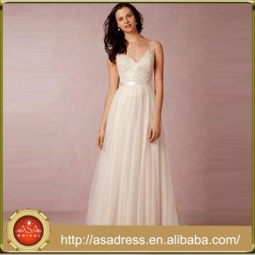 BHD16 Wunderschöne Perlen Sequined Formal Kleid Low Back A-Line Tüll Brautkleid Strand Brautkleid 2015