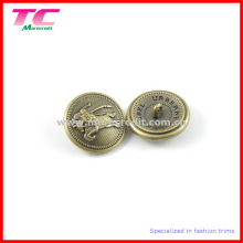 Metal Shank Coat Button with 3D Embossed Logo