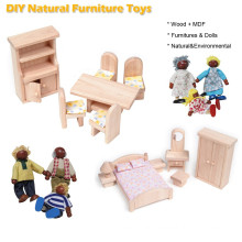 Wood Material Toys Mini Furniture and Mini Figures Set
