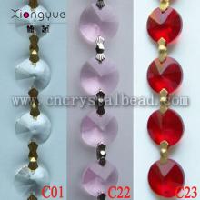 Chaînes de perles de verre cristal rouge