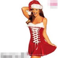 Sexy santa mini vestido de moda traje de natal (fs5808)